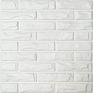 Art3d Pvc 3d Wall Panels White Brick Wall Tiles 19 7 X 19 7 12 Pack Home Improvement