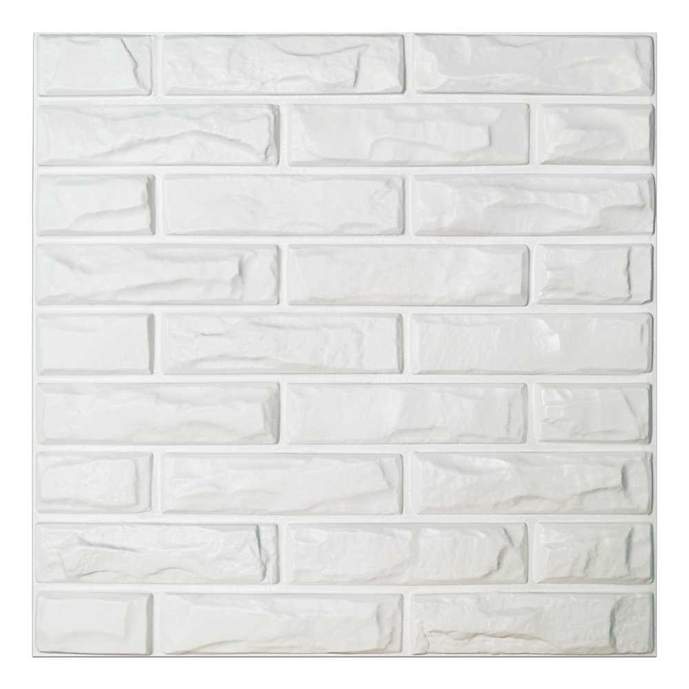 Art3d PVC 3D Wall Panels White Brick Wall Tiles, 19.7'' x 19.7'' (12 Pack)