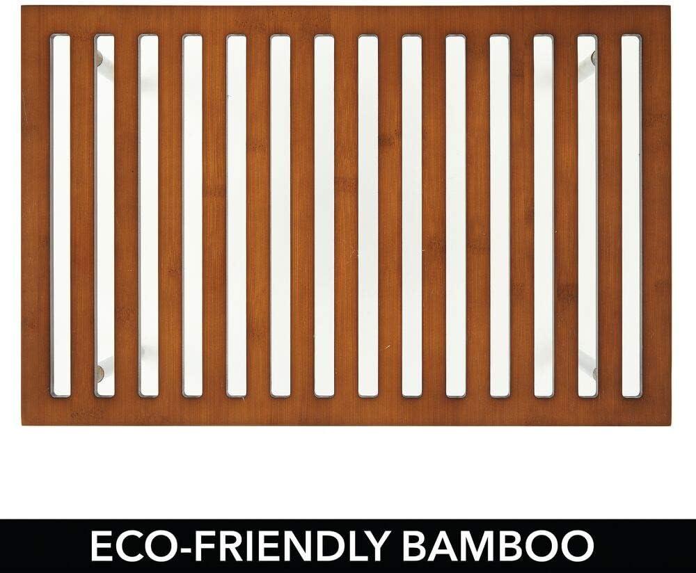 praktischer Schrankeinsatz aus Bambus und Edelstahl stilvoller Ordnungshelfer f/ür K/üchenschr/änke dunkelbraun mDesign 2er-Set K/üchen-Organizer Arbeitsplatten etc