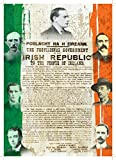 Irish Leaders and The Proclamation of the Irish Republic with Irish Flag - POBLACHT NA H EIREANN A4 Poster