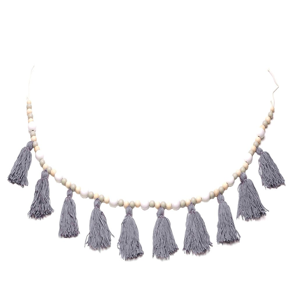 Blesiya Creative Wooden Beaded Tassel Pendant Mosquito Net Wall Hanging Ornament Craft - #1