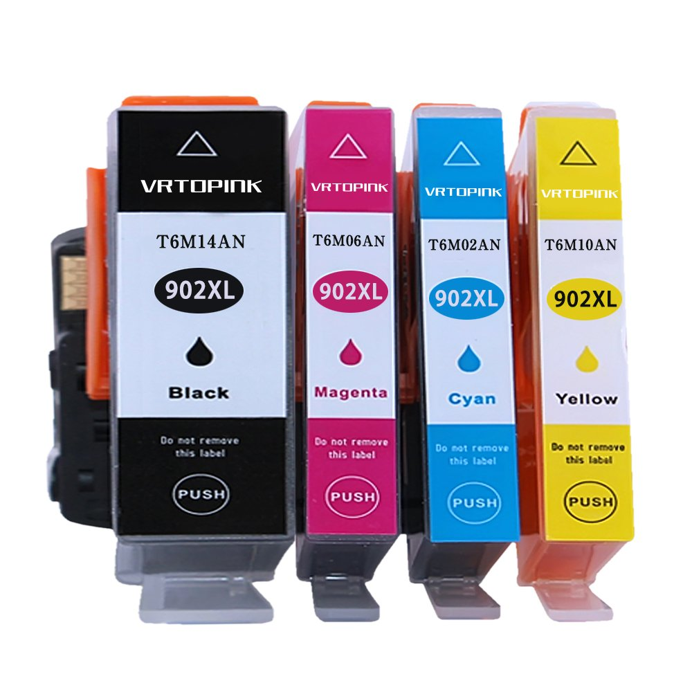 VRTOPINK Remanufactured Ink Cartridge Replacement for HP902XL 902 XL(1 Black, 1 Cyan, 1 Magenta, 1 Yellow4-Pack) for HP OfficeJet 6950 6951 6954 6958 6962 for HP Office Jet Pro 6978 6970 6974