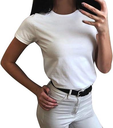 Blusas Tops Mujer Deportivo, MINXINWY Camiseta Verano Basica ...