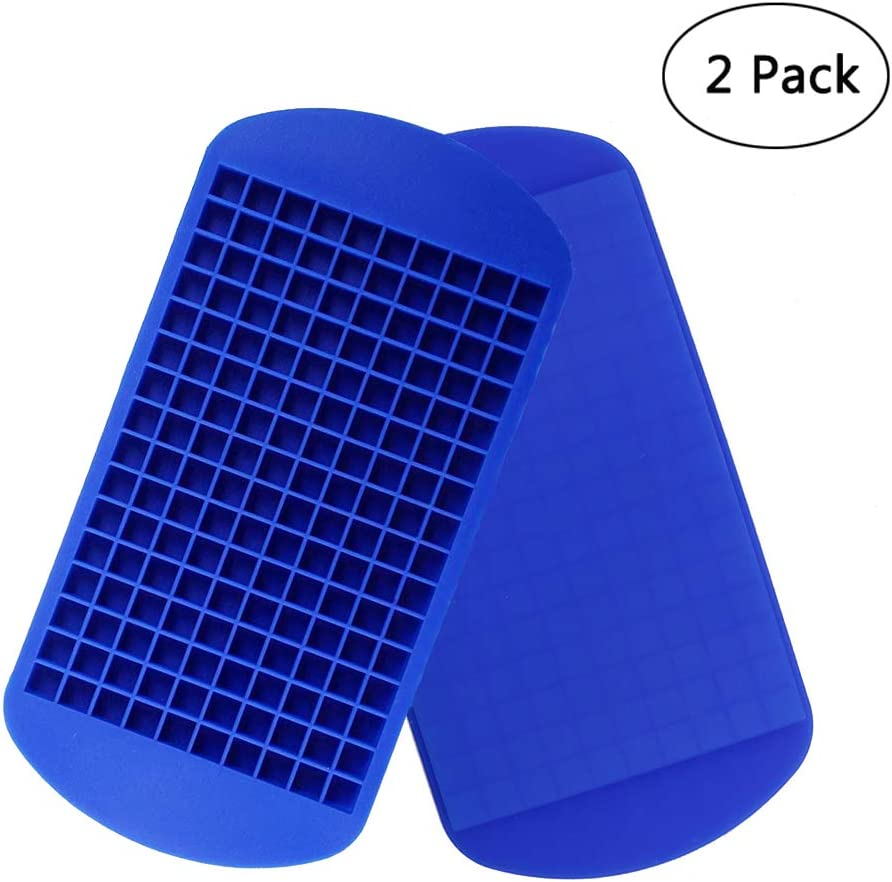 Silicone Mini Ice Cube Trays 2 Pack, 160 Small Ice Cube Molds Easy Release Ice Cube for Chilling Whiskey Cocktail, BPA Free Flexible Stackable and Durable Soft Mold Storage Containers