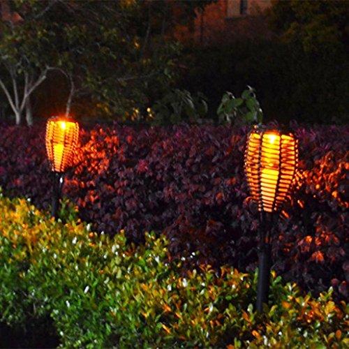 Ecosin LED Land Lamp Waterproof Solar LED Torch Light Outdoor Landscape Lawn Garden Rattan Lamp (Abs Silk Dresses)