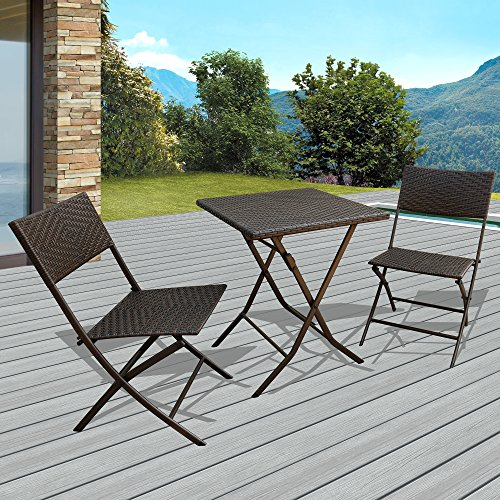 Patiorama 3 PCS Outdoor Wicker Rattan Steel Folding Table and Chairs Bistro Set, Rich Textured Espresso Brown