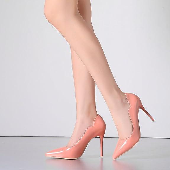 274d946715cdc7 Damen Spitze High Heels Lack Stiletto Pumps mit 10cm Absatz Ohne Plateau  Party Kleid Schuhe UH