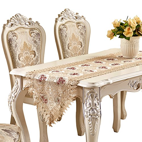 Adasmile Handmade Hemstitched Embroidered Floral Lace Dresser Scarves Table Runner (78.7inchX17.7inch/220cmX40cm, Champagne 06) (Dresser Top Runner)