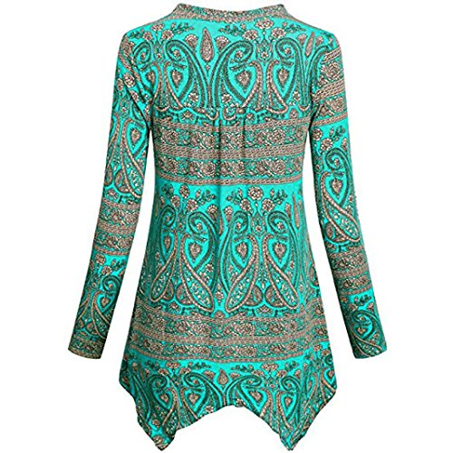 Bleu Tonsi Top Pull Femme Chic Longue Manche Imprime Tunique Blouse Chemise 6v46z7