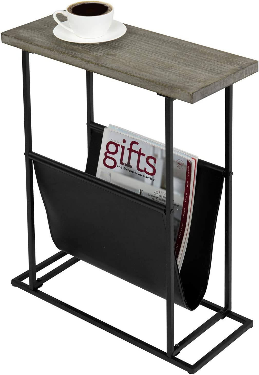 MyGift 21-Inch Tall Modern Gray Solid Wood & Metal Frame Side/End Table with Magazine Holder Sling