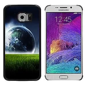 QCASE / Samsung Galaxy S6 EDGE SM-G925 / azul Vista planeta tierra hierba verde arte / Delgado Negro Plástico caso cubierta Shell Armor Funda Case Cover