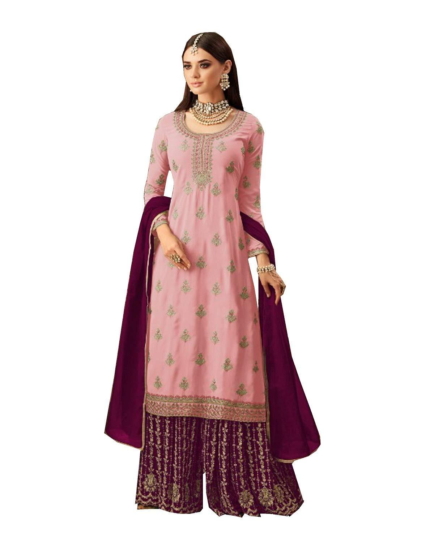 ziya Ethnic wear Readymade Indian/Pakistani Georgette Palazzo Salwar Kameez 5702 (Pink, XL-44)