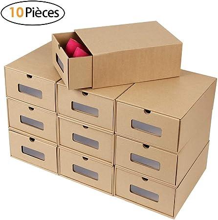 BEILENING Cajas de Almacenamiento de Cartón Kraft para Zapatos, con Visor, Ecológicas y Plegables, Cajas de Zapatos de cartón Apilable Caja,Cartón,10 pcs: Amazon.es: Hogar