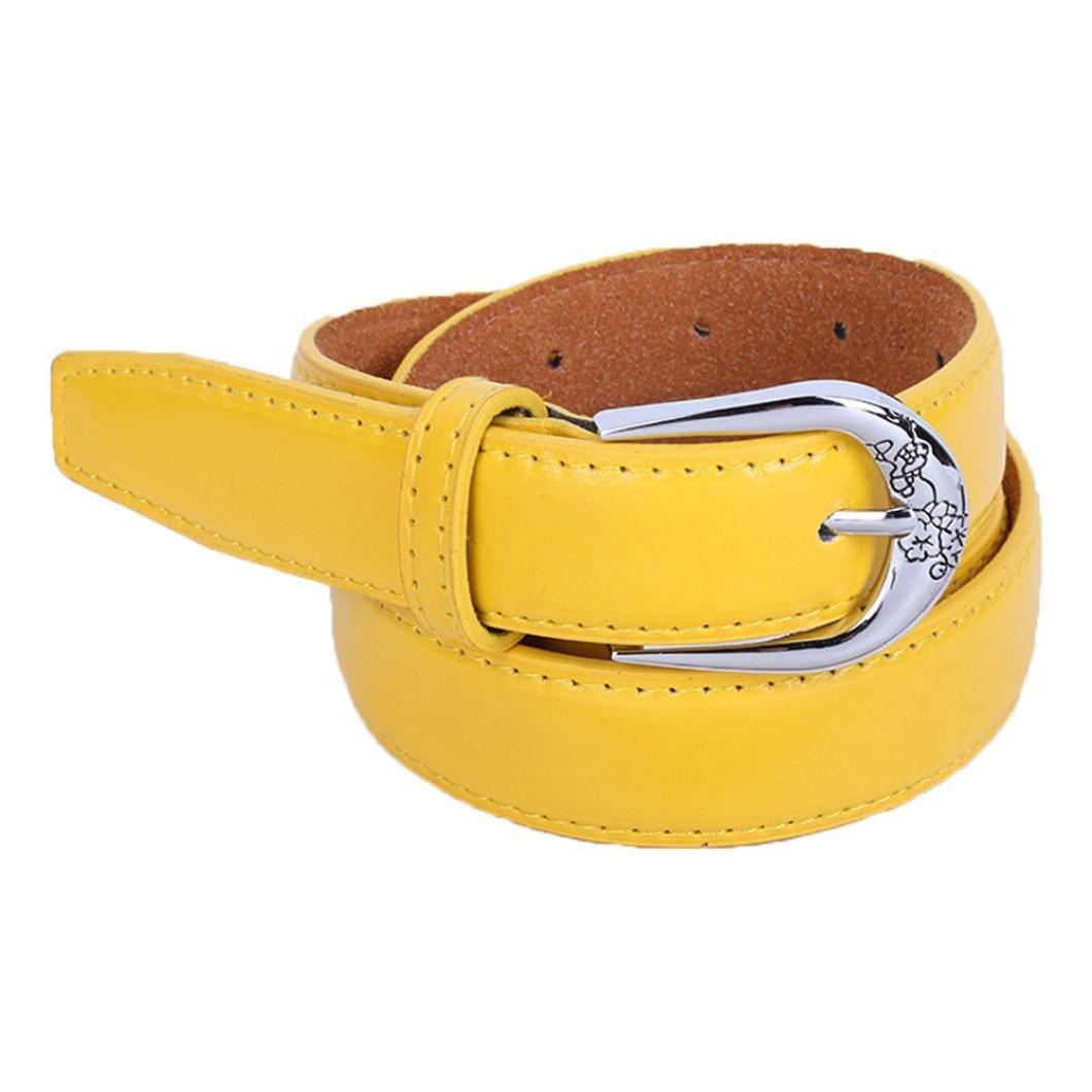 Siviki Fashion Women's Vintage Dress Belt Solid PU Leather Accessories Casual Thin Leisure Belt (Yellow)