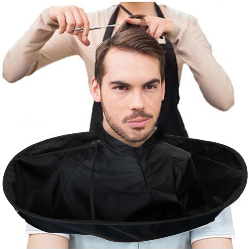 Barber Cloak, AMA(TM) Hair Cutting Cloak Gown Umbrella Nylon Hair Salon Cape Hairdresser Haircut Bib Apron (Black)
