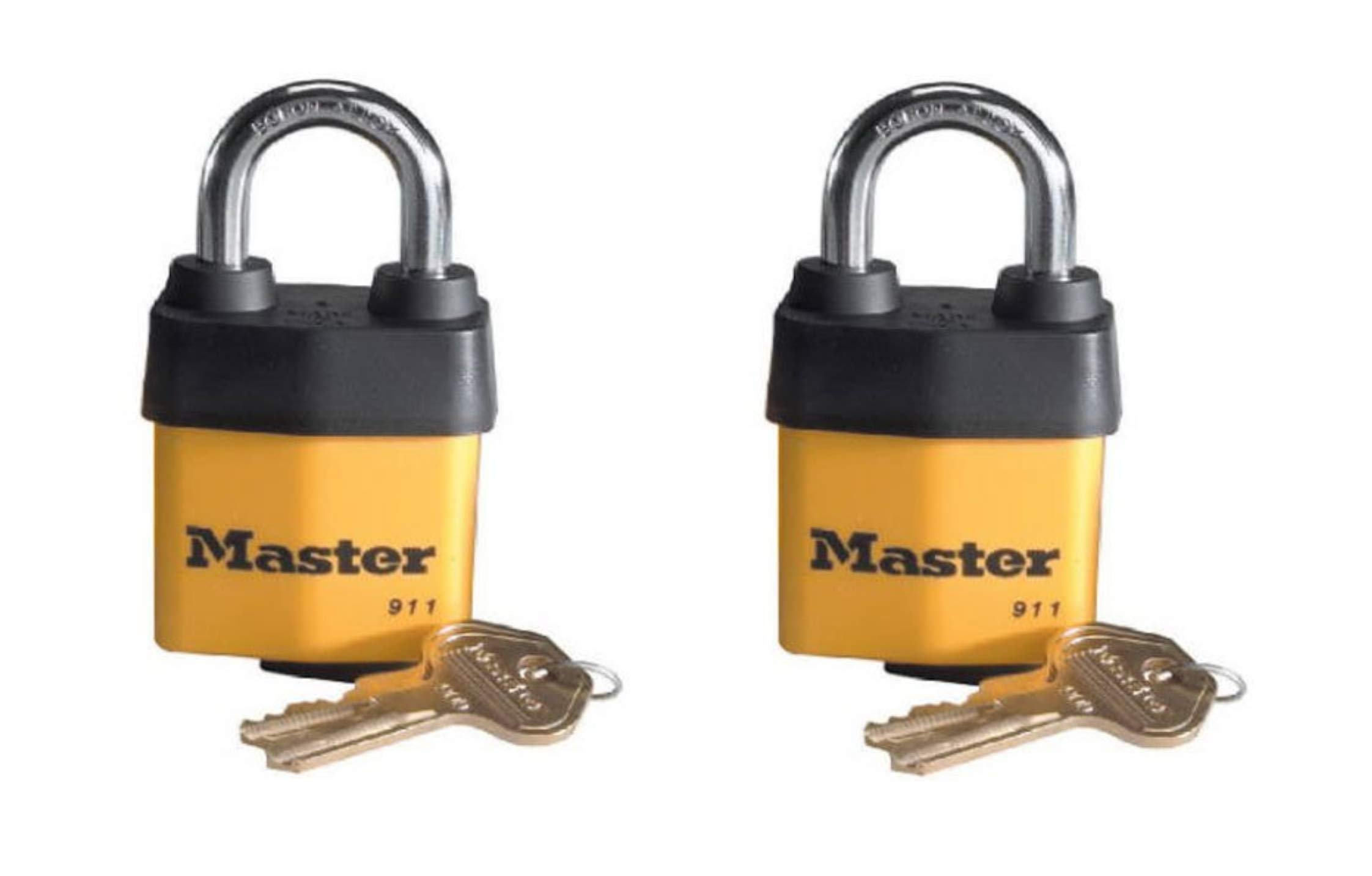Master Lock Padlock, Covered Laminated Steel Lock, 911DPF,  2 Pack by Master Lock