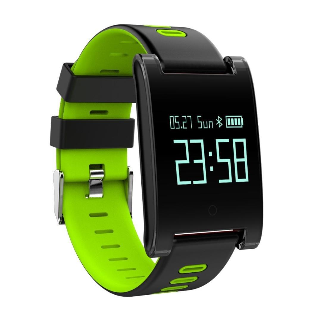 Reloj Inteligente Xinan DM68 Plus Fitness Tracker Presión arterial Monitor de frecuencia cardíaca Llamadas Mensajes Mira para SmartPhone (❤️Verde): ...