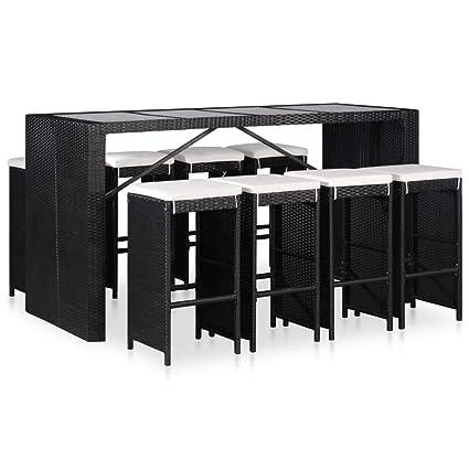 Festnight Mobilier Bar Exterieur Salle à Manger d\'Extérieur en résine  tressée Salon de Jardin de terrasse 1 Table et 8 chaises Noir
