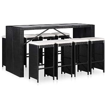 Festnight- Mobilier Bar Exterieur Salle à Manger d\'Extérieur en résine  tressée Salon de Jardin de terrasse 1 Table et 8 chaises Noir
