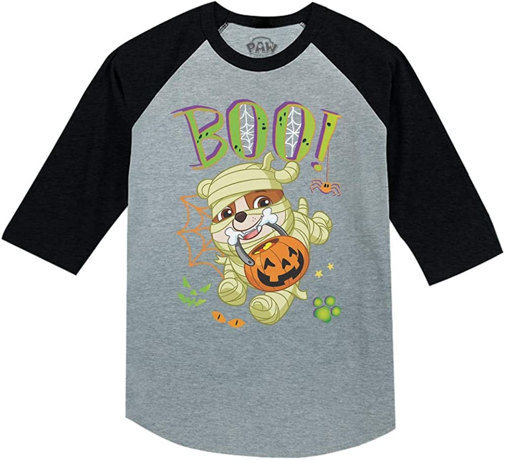Paw Patrol Rubble Halloween Mummy Nick 3//4 Sleeve Baseball Jersey Toddler Shirt