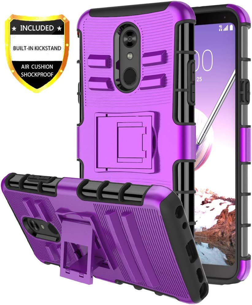 yuanming LG Stylo 5 Phone Case/LG Stylo 5 Case, [Shockproof] Tough Rugged Dual Layer Protective Case with Kickstand Hard Phone Cover (Purple)