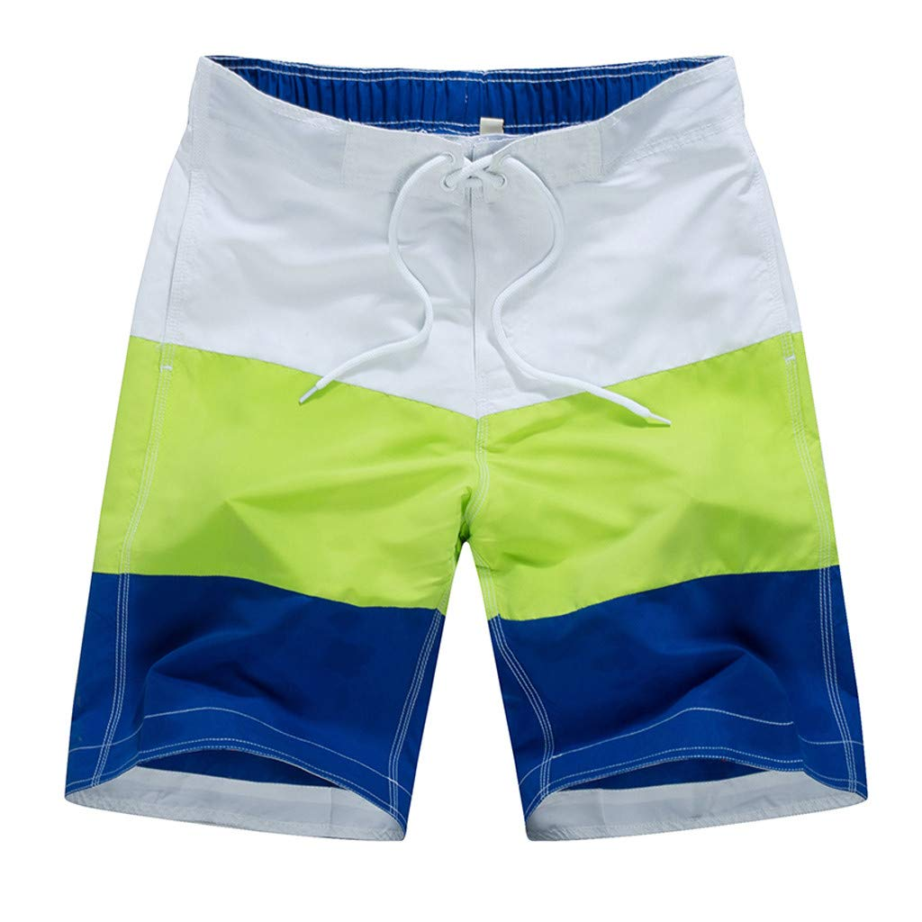 Allywit Mens 3D Printed Casual Color Collision Patchwork Beach Loose Quick Drying Shorts Pants