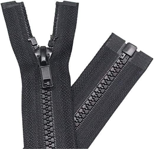 YaHoGa 2PCS #5 7 inch Separating Jacket Zippers for Sewing Coats Jacket Zipper Black Molded Plastic Zippers Bulk 7 2pc