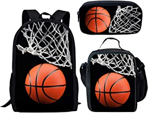 3 PCS School School Bag Set for School Students Girls Boys Cool 3D Basketball Ball Print Black Casual Dailypack Book