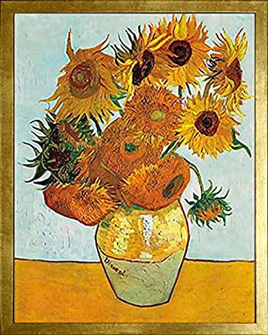 Vase with Twelve Sunflowers by Vincent van Gogh. Framed Art Print Poster. Custom Made Real Wood Modern Scratched Gold Frame (17 1/8 x 21 1/8)