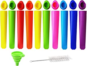 AIBUYTA Silicone Ice Pop Molds,Popsicle Maker Molds, DIY Ice Cream Pop Molds for Children. 8 Multi Colors,10 pcs. (include Silicone Folding and Brush)