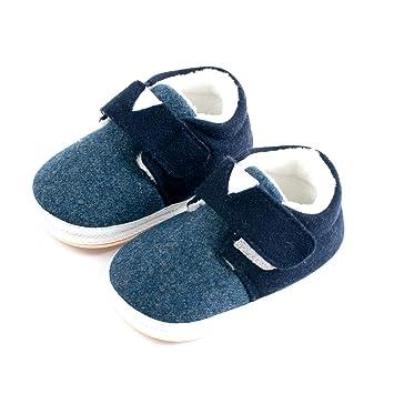 Unisex Baby Boys Girls Warm Fleece Shoes Rubber Cozy Sole Anti-Skid Indoor Prewalker Shoes Winter Sneaker Slippers Navy 130mm