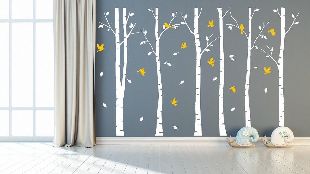Sayala 6 Grandes árboles de Abedul con pájaros Vinilo de Pared Mural de Adhesivo para decoración de habitación,2.6m H*3m W