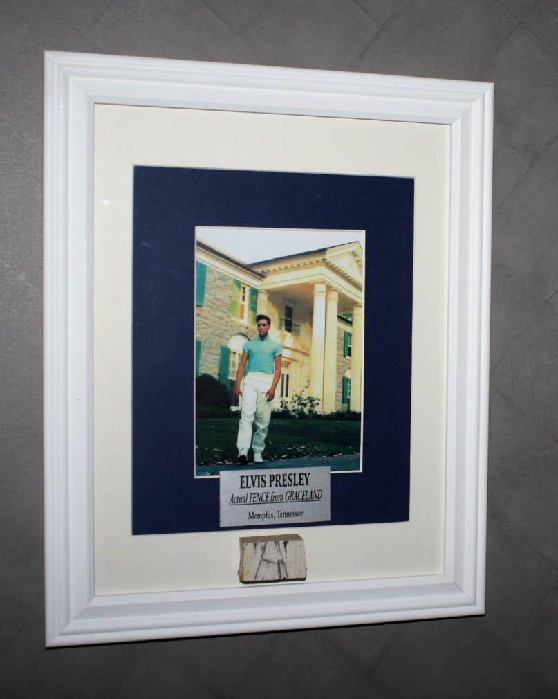 FRAMED Graceland ELVIS FENCE Piece, COA, Plaque, UACC, Memphis Newspaper + MORE