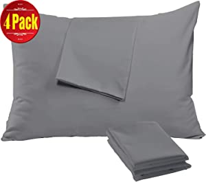 Niagara Sleep Solution 4 Pack Pillow Case Protectors Zippered Standard 20x26 Inches Brushed Dark Grey Extreme Soft Cooling Microfiber Wrinkle Stain, Fade Resistant (4 Pack Standard Dark Grey)
