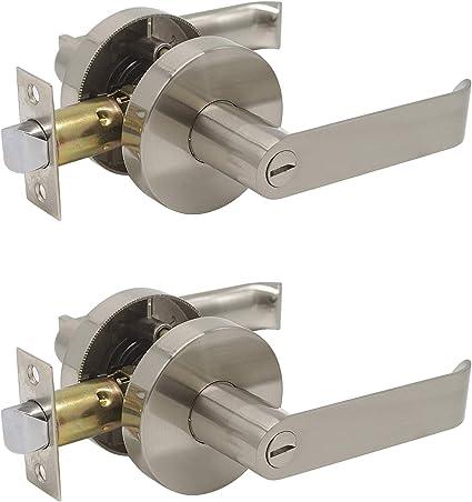 Privacy Bed Bath Door Lever With Round Rosette Interior Lockset Satin Nickel 2 Pack