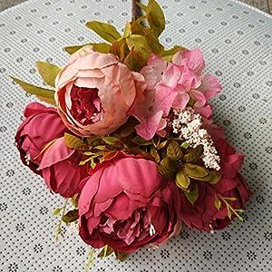 Alapaste Artificial Flowers,Fake Silk European Fall Peony Flowers Arrangements Wedding Bouquets Decorations Floral Table Centerpieces Decoration for Home Party Decor 3