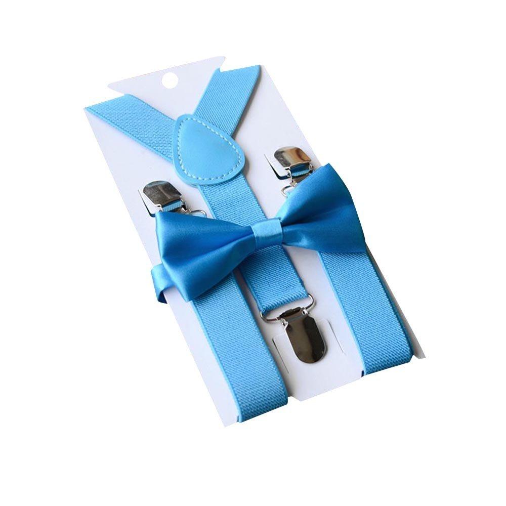 Tharv❤Children Kids Boys Girls Clip-on Suspenders Elastic Adjustable Braces (,Sky Blue)