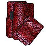 OxGord Universal Fit Front/Back Seat Leopard Carpet Mat - (Red)