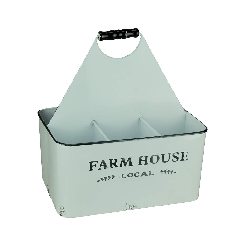 White Enamel Farmhouse Local Divided Storage Caddy