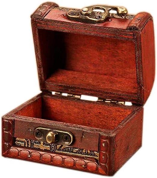 Caja de Almacenamiento de Tesoros de joyería de Navidad Caja de Regalo de cumpleaños Caja de Almacenamiento de Madera con Cerradura de Metal Vintage: Amazon.es: Hogar