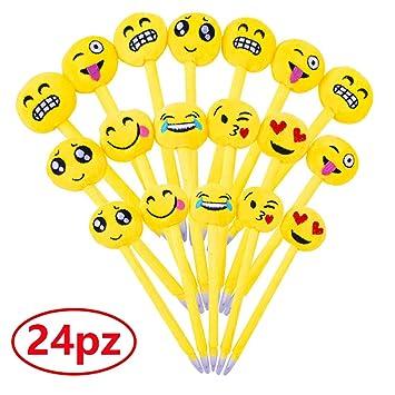 Gudotra 24pcs Pluma de Emoji de Plush Bolígrafos Azul Detalles Papelería Regalos para Niños Cumpleaños Navidad (Estilo5)