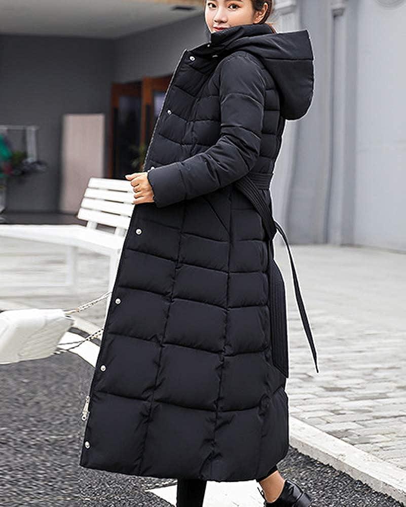 Femme Doudoune Manteau Longue Hiver Chaud Blouson À Capuche Épaissir Veste Matelassée Parka Slim Fit Noir