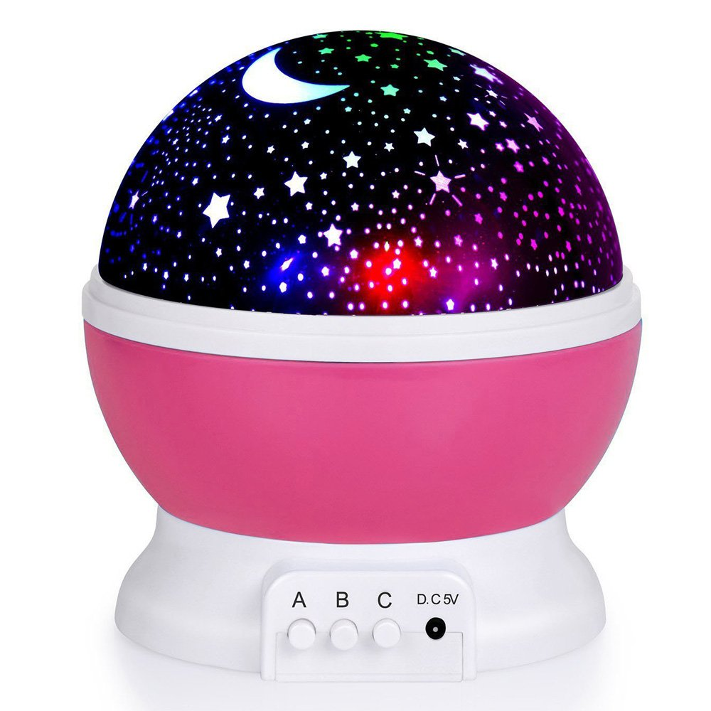Alenbrathy Night Light Lamp, Star Projector Romantic LED Night Light 360 Degree Rotation 4 LED Bulbs 9 Light Color Changing with USB Cable for Birthday,Parties,Kids Bedroom Or Christmas Gift (Pink) ALBTH020