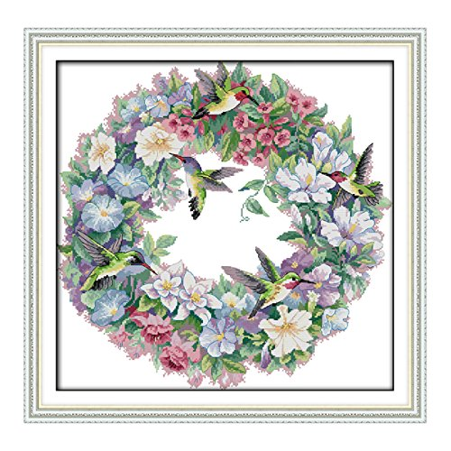 LiangGui Cross Stitch Kit Embroidery Kits DIY Counted Needlework Home Decor Hummingbird