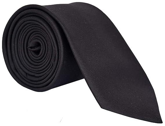 WSD men's narrow black micro fiber tie