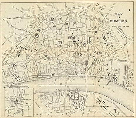 cologne koln kln antique town plan city map germany bradshaw 1890