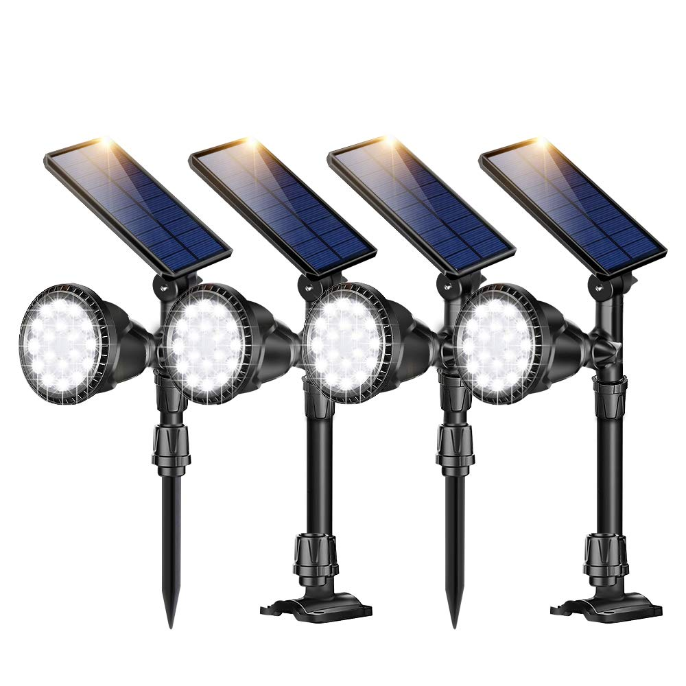 ROSHWEY Outdoor Solar Spot Lights, Super Bright 18 LED Security Lamps Waterproof Spotlight for Garden Landscape Patio Porch Wall Deck Garage (Cool White Light,4Pack)