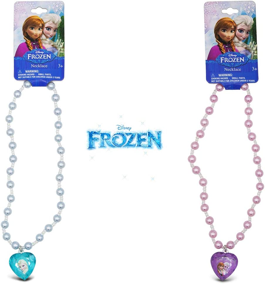 "2 x Disney Frozen Elsa /& Anna Princess 16/"" Pearl Necklace"