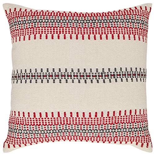 Stone Beam Modern Woven Stripe Throw Pillow – 18 x 18 Inch, Red and Grey