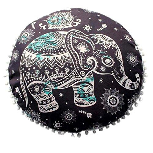 Lisin 17.017.0 Indian Mandala Pillows Round Bohemian Home Cushion Pillows Cover Case Cushions (G)